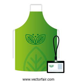 mockup id badge and apron with sign of green company, corporate identity