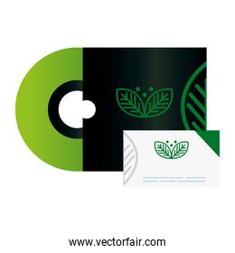 mockup compact disc and business card, with sign of green company, corporate identity