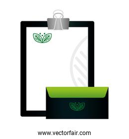 mockup clipboard and envelope with sign of green company, corporate identity