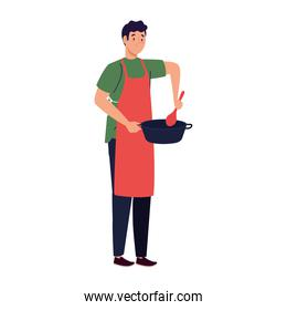man cooking using apron with pot and spoon, in white background