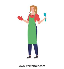 woman cooking using apron with spoon, in white background