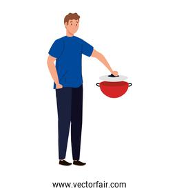man cooking with pot kitchen, in white background