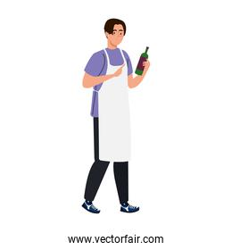 man cooking using apron with bottle wine, in white background