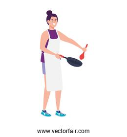 woman cooking using apron with pan and spoon in white background
