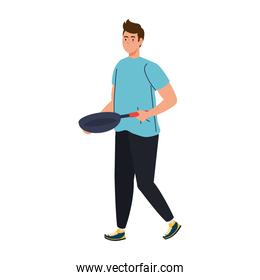 man cooking with frying pan, in white background