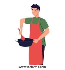 man cooking using apron with pot and spoon, on white background