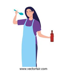 woman cooking using apron with spoon and bottle wine, on white background