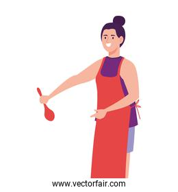 woman cooking using apron with spoon