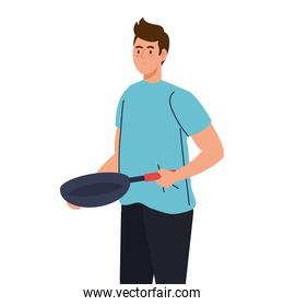 man cooking with frying pan, on white background