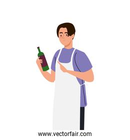 man cooking using apron with bottle wine, on white background