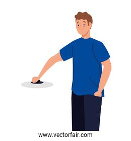 man cooking with pot lid, in white background