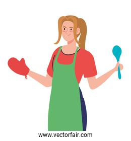 woman cooking using apron with spoon, on white background