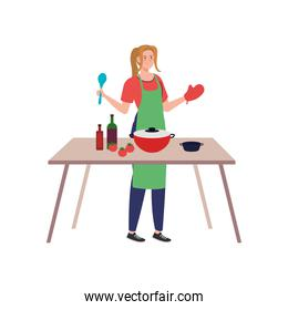young woman cooking using apron with wooden table, on white background