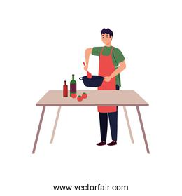 man cooking using apron with wooden table, in white background