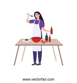 woman cooking using apron with wooden table, in white background