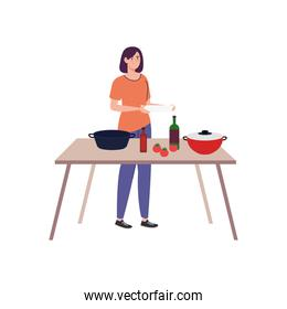 woman cooking with wooden table, in white background
