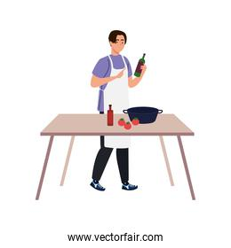 man cooking using apron with wooden table in white background