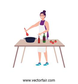 woman cooking using apron with wooden table, on white background