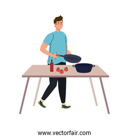 man cooking with wooden table, on white background