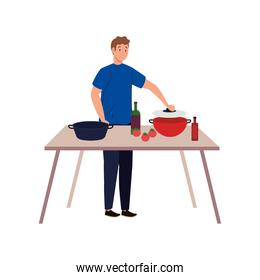 man cooking with wooden table on white background