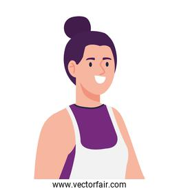 woman cooking using apron, in white background