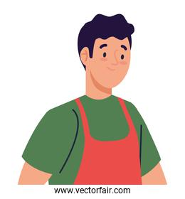 man cooking using apron, in white background