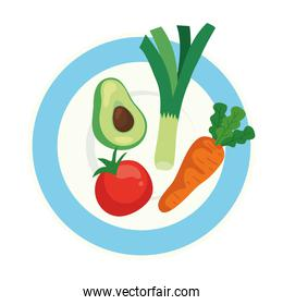 fresh and healthy vegetables on dish
