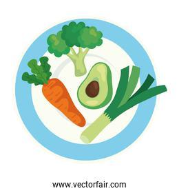 fresh and healthy vegetables on dish, in white background