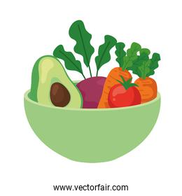 avocado and vegetables on bowl, in white background