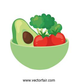 avocado and vegetables in bowl, on white background