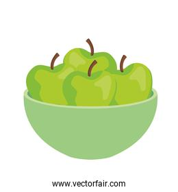 apples green fruits in bowl, on white background
