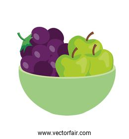 fresh grapes and apples on bowl, in white background