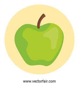 apple green fruit on round frame, in white background