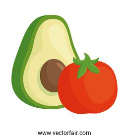 fresh avocado and tomato vegetables in white background