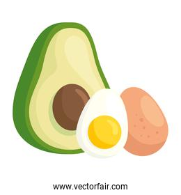 fresh avocado with eggs in white background