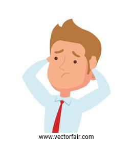 picture businessman worried, in white background