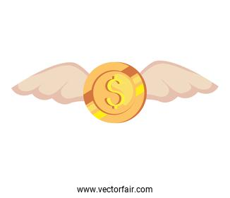 coin with wings, in white background