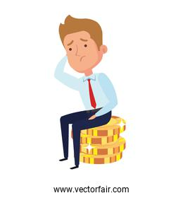 businessman worried sitting in pile coins, in white background