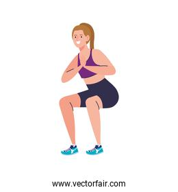 woman doing squats, sport recreation exercise
