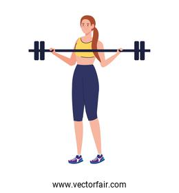 woman doing exercises with weight bar, sport recreation exercise