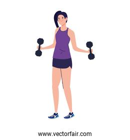 isolated woman doing exercises with dumbbells, sport recreation exercise