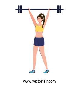 woman doing exercises with weight bar, exercise sport recreation