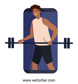 fitness, training and workout app, man afro with weight bar in smartphone, sport online