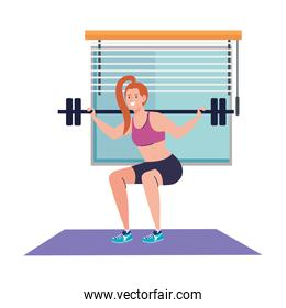 woman doing squats with weight bar in the house, sport recreation exercise