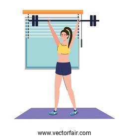 woman doing exercises with weight bar in the house, sport recreation exercise