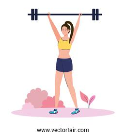 woman doing exercises with weight bar outdoor, sport recreation exercise