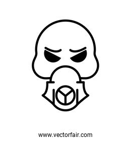 death skull wearing mask line style icon