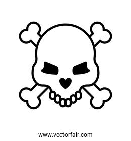 death skull with bones crossed line style icon