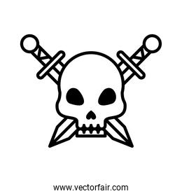 death skull head with swords crossed line style icon