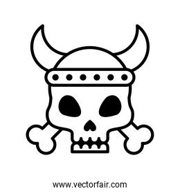 death skull with bones crossed and horned line style icon